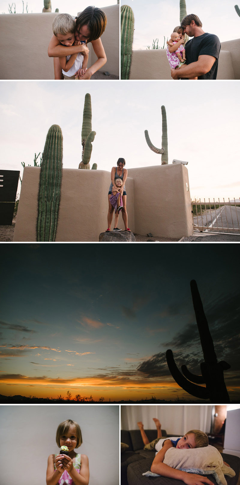 kids with cactuses in the desert