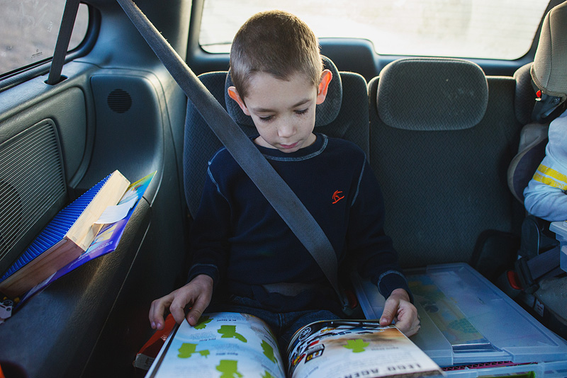 Lego sticker books on a long road trip.