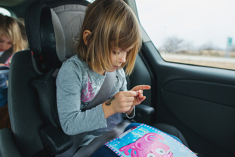 Sticker book ideas for kids on a road trip.