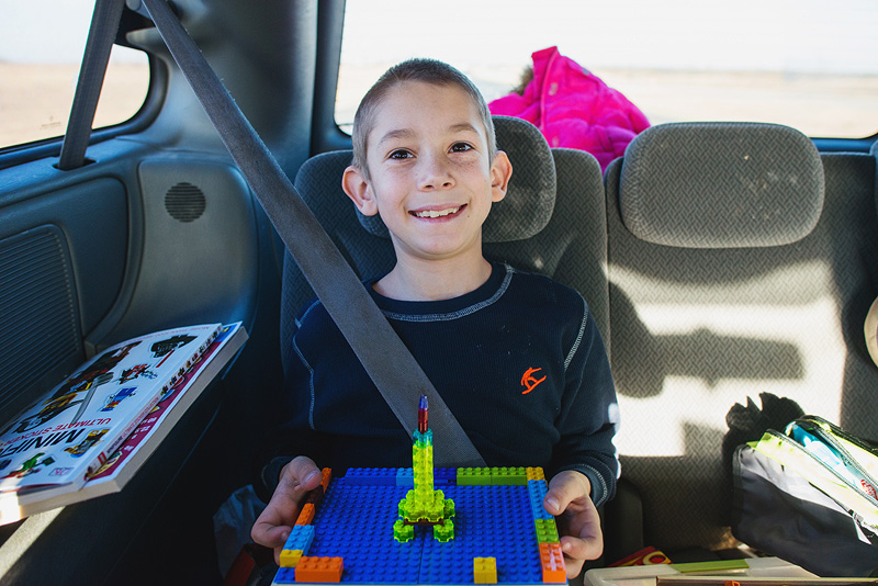 Legos in the car on a road trip to Texas.