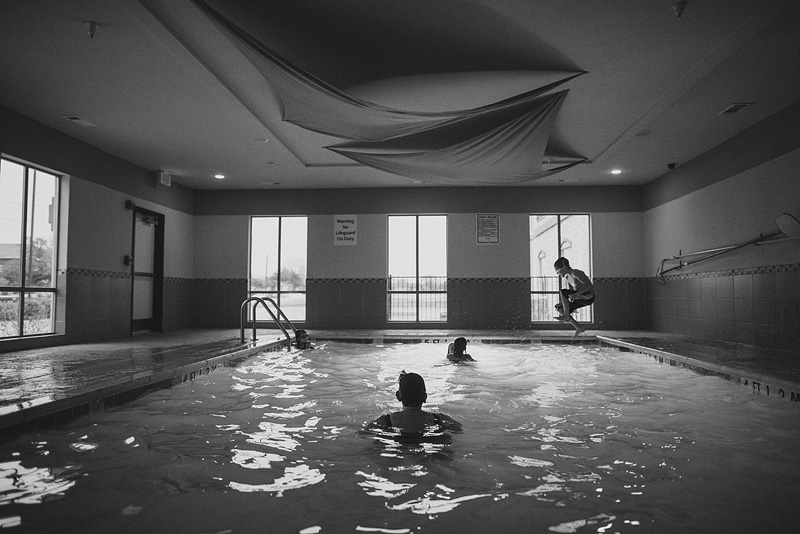 Family fun in a hotel pool.