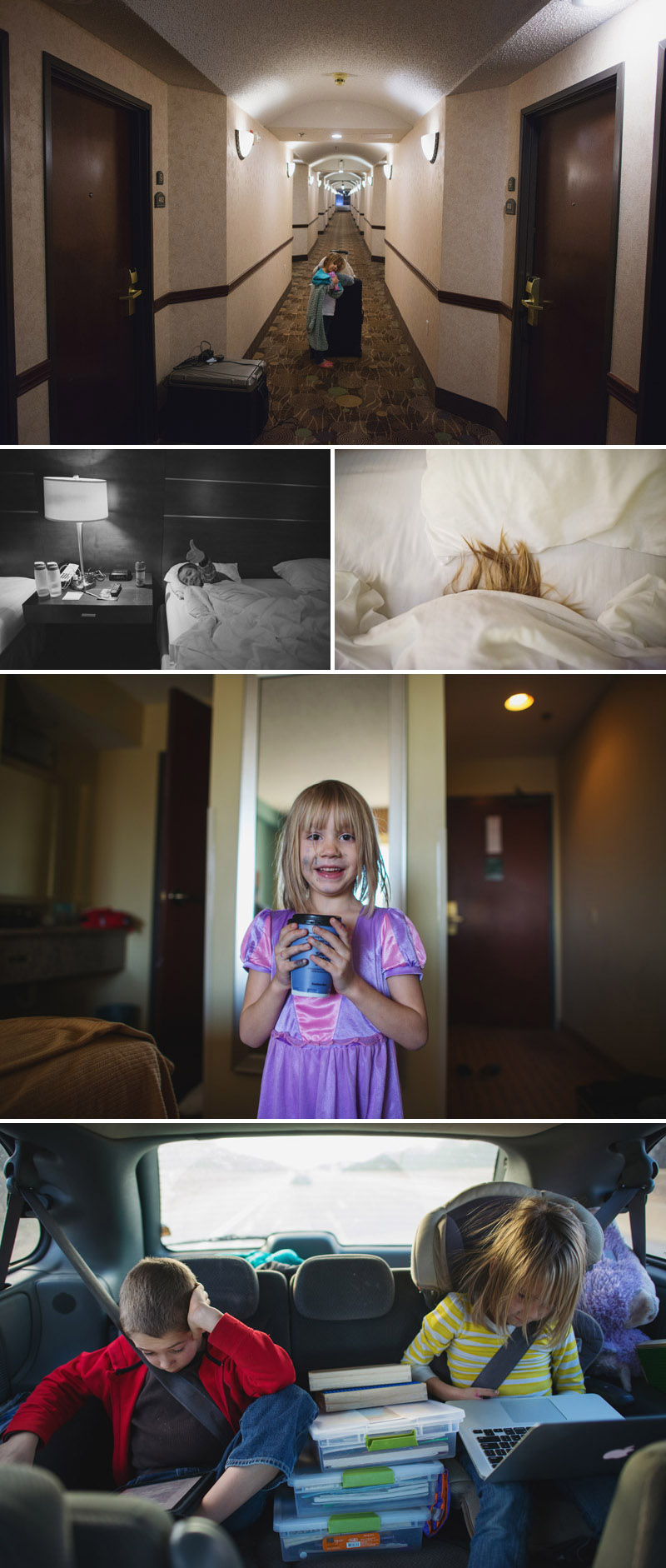 kids in hotel room on family road trip