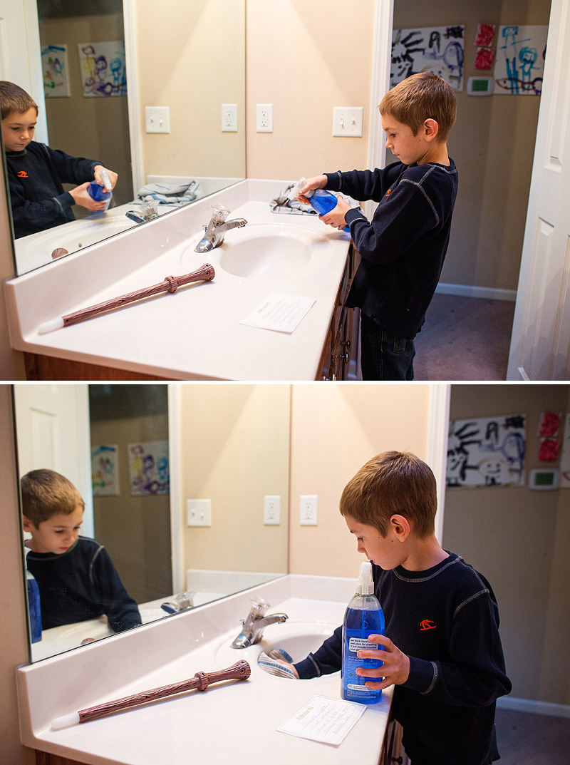 Boy cleaning with Method plant pased cleaners.