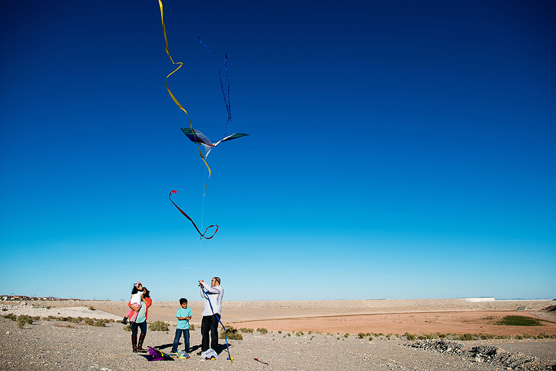 Kite flying in Red Rock Canyon, Nevada.