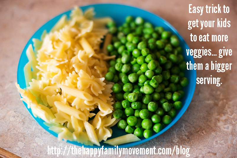 portion size affects how much kids eat… bigger portion means they eat more veggies