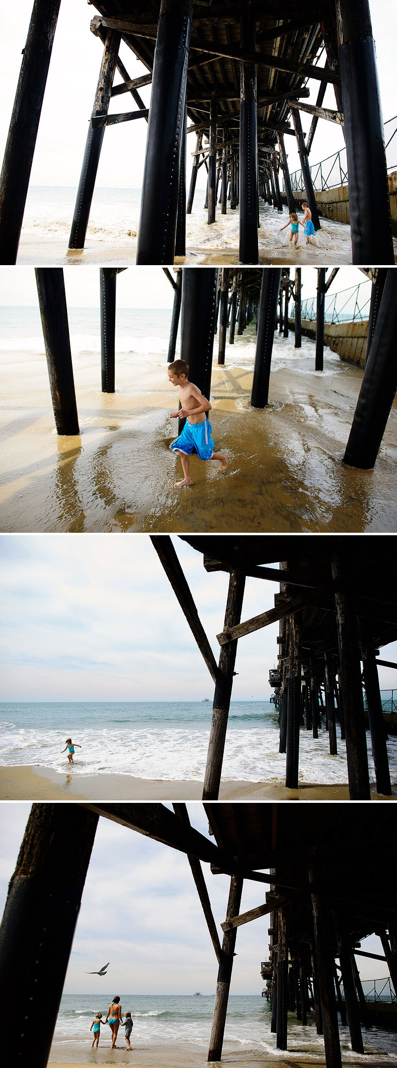 kids playing under the pier at seal beach