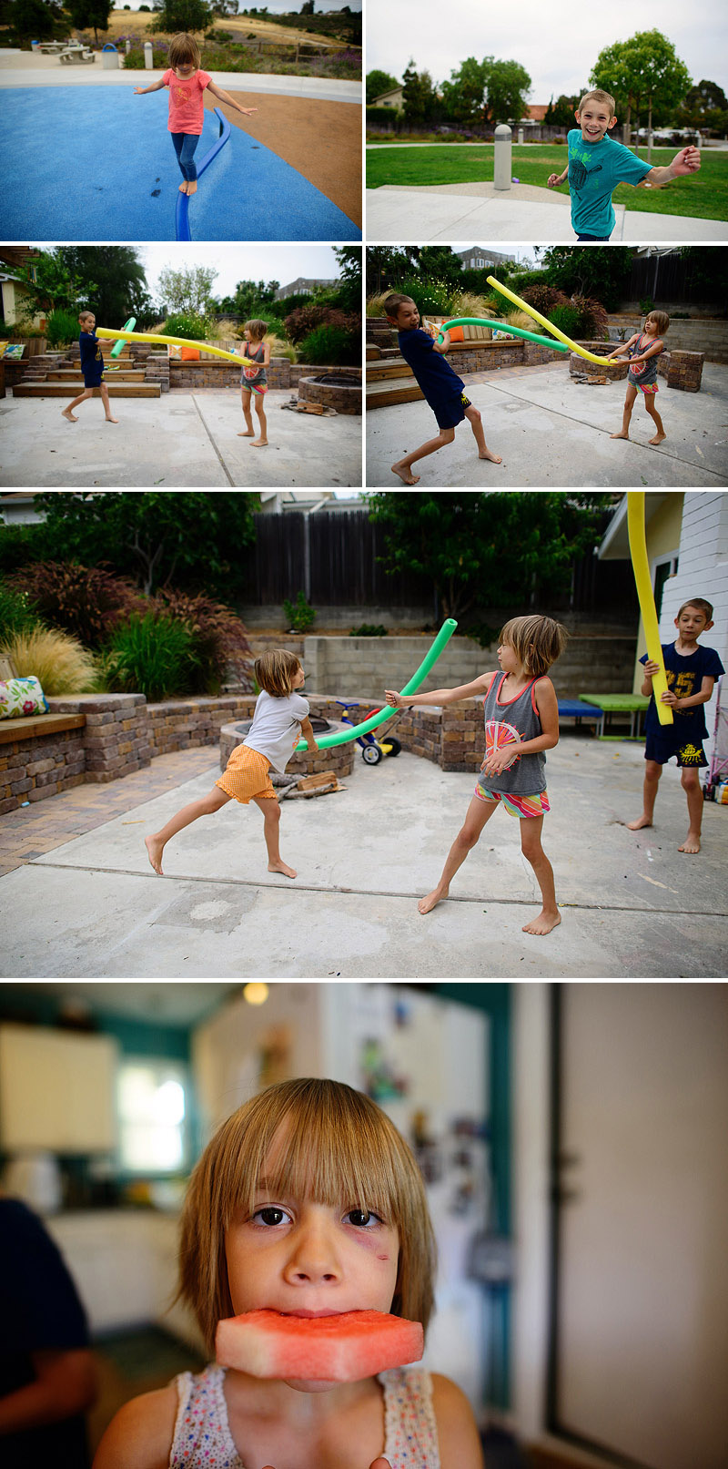 kids fighting with fun noodles