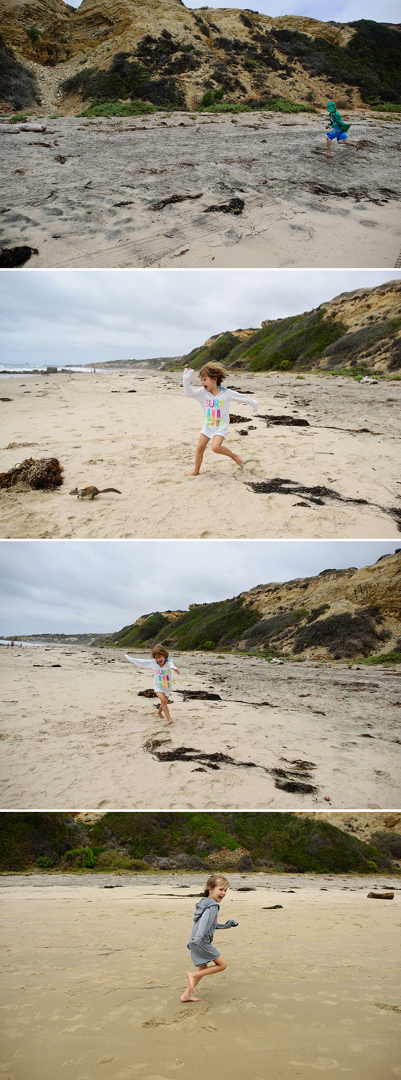 kids chasing squirrels at crystal cove
