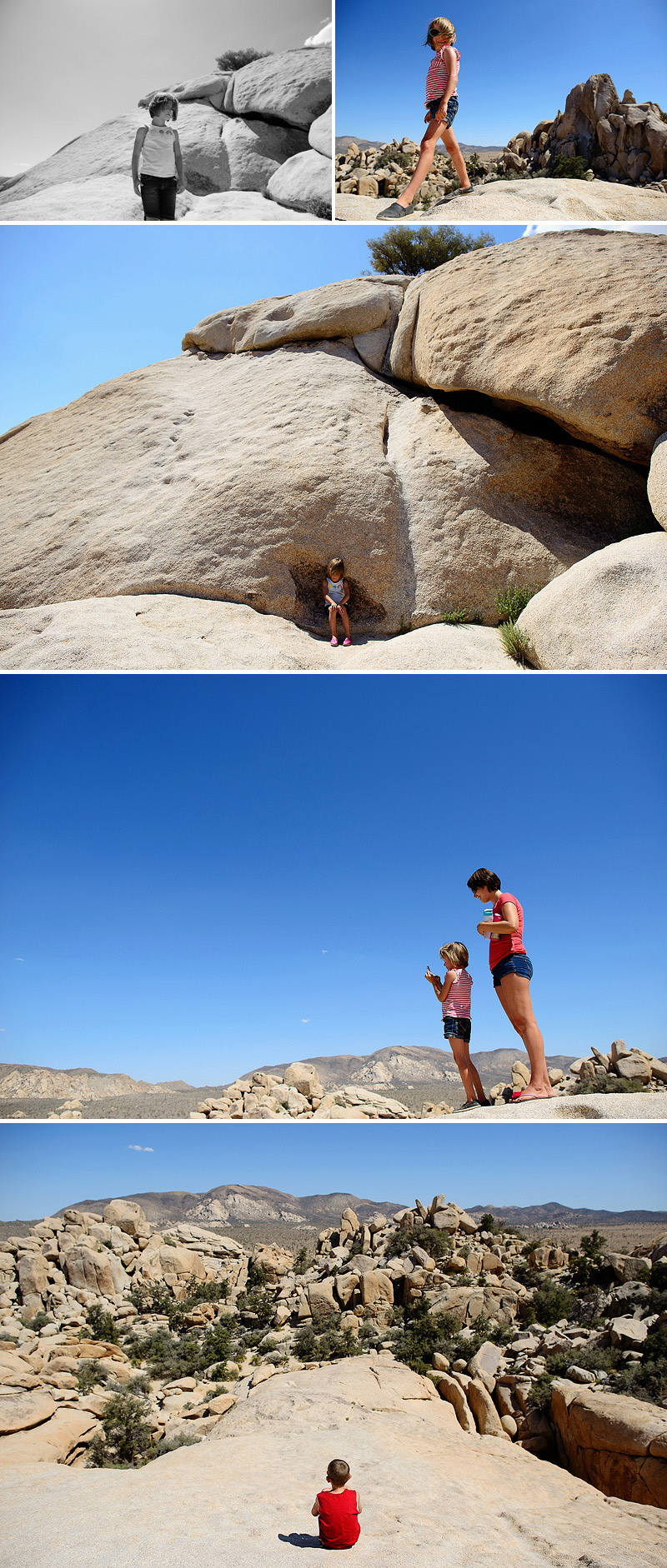 kids climing rocks in joshua tree national park