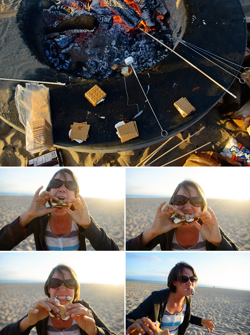 s'mores at the beach summer bucket list