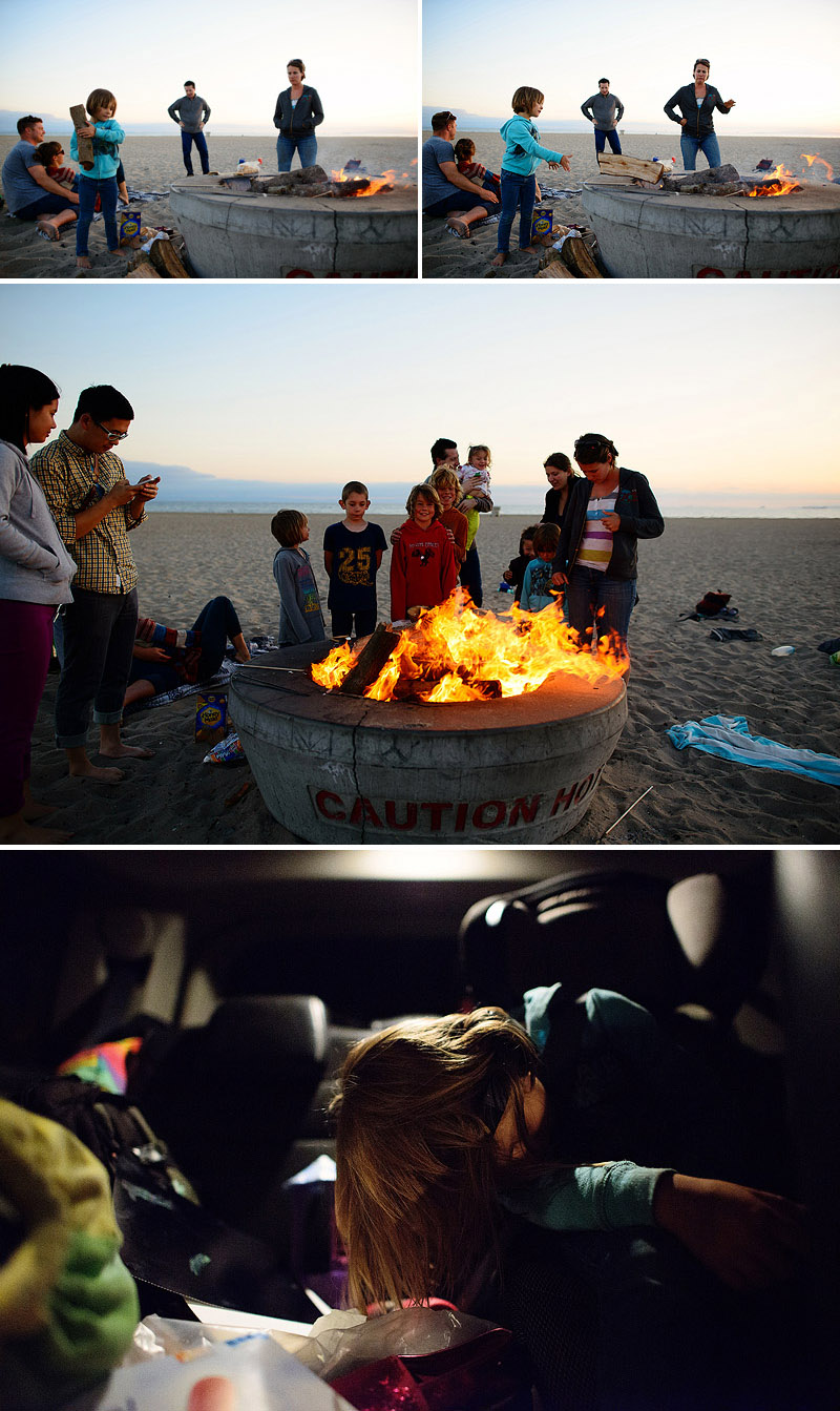 bonfire at the beach with friends