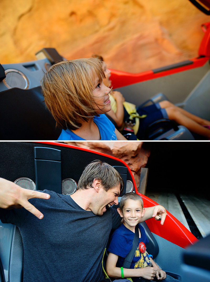 family having fun on radiator springs racers in cars land at california adventure disneyland