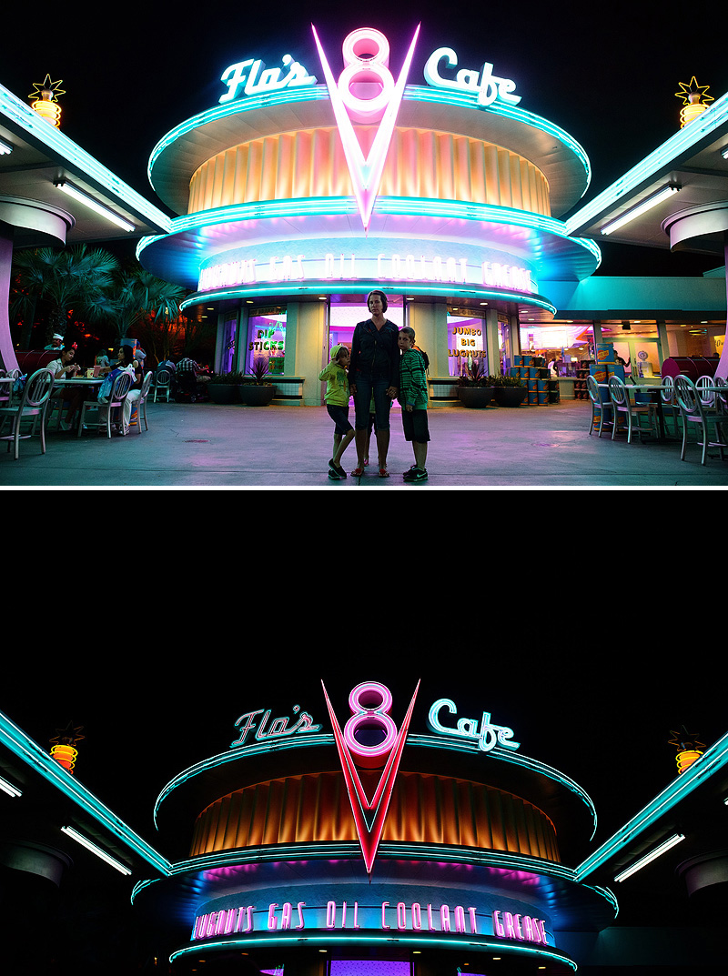 Flo's v8 cafe at night in cars land