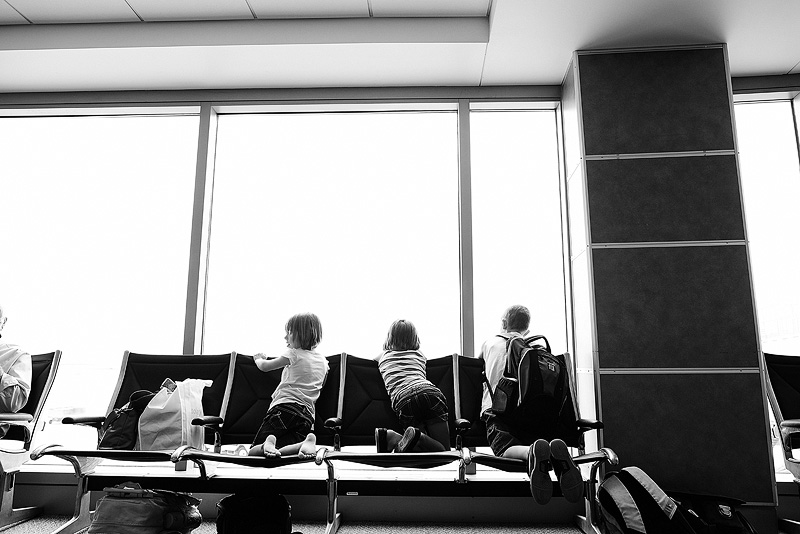 kids in an airport.
