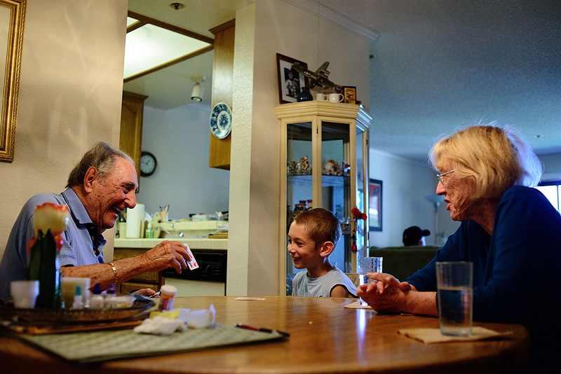 Card fun with great grandparents.
