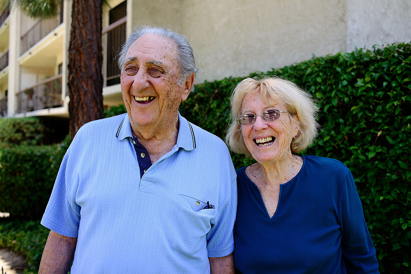Cute grandparents smiling.