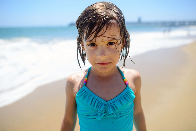 Portrait of a girl on the beach.