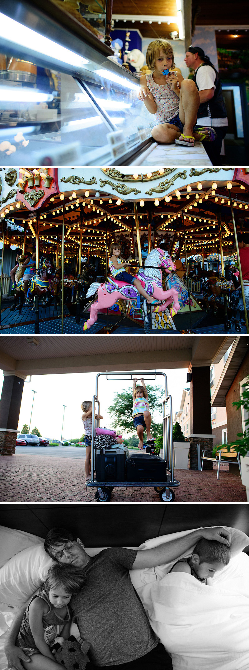 riding the carousel and eating ice cream at Ella's Deli