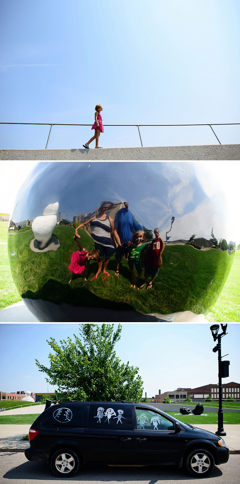Family fun at Pappajohns Sculpture Park in Des Moines.