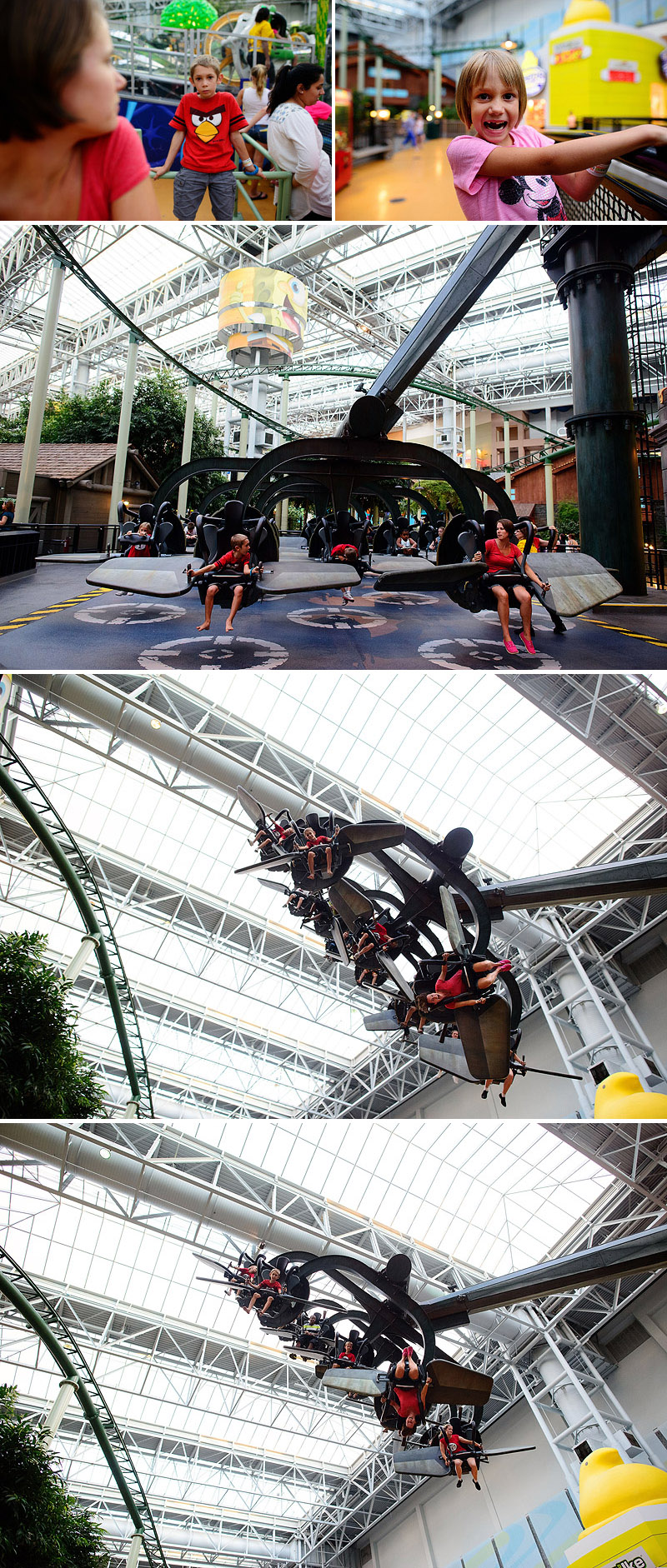 kids riding rides at amusement park in mall of america