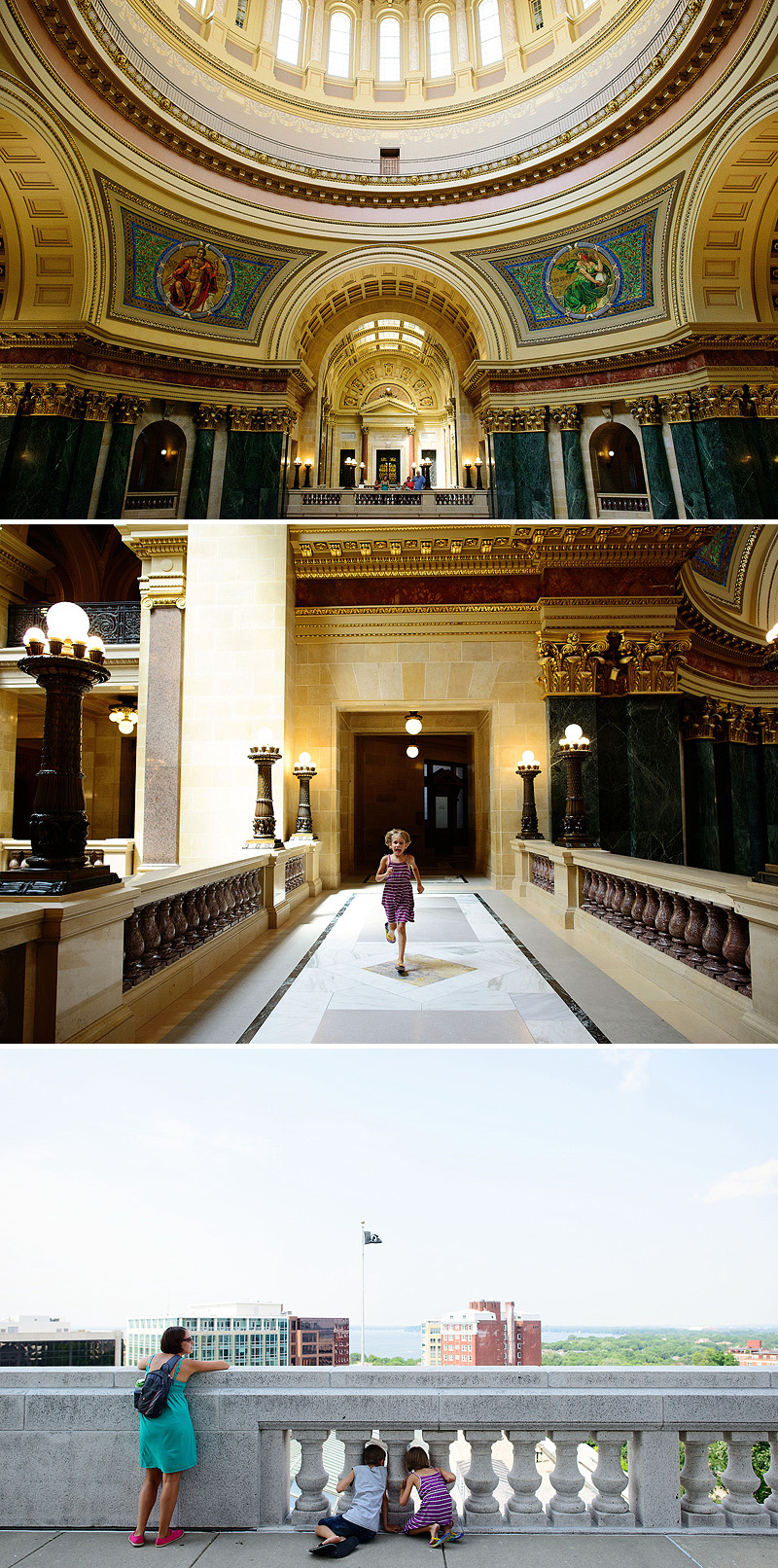 family touring wisconsin state capitol building
