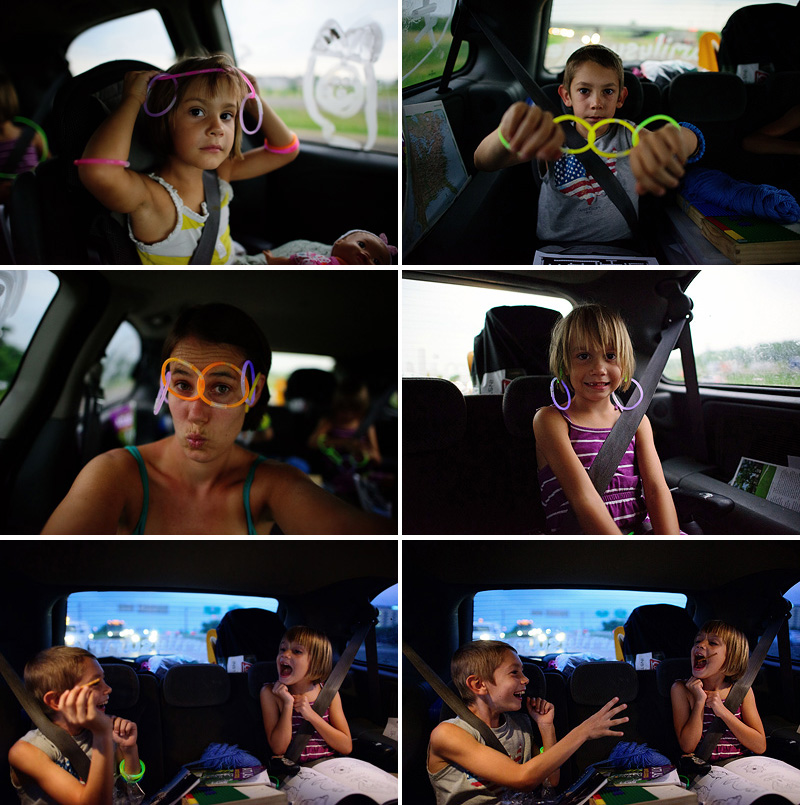 keeping kids entertained on a road trip with glow sticks