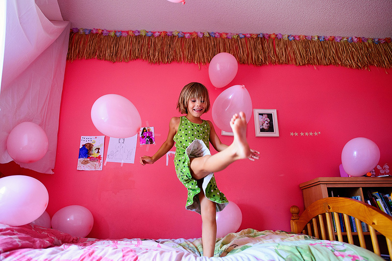 Balloon drop for a girls birthday party.