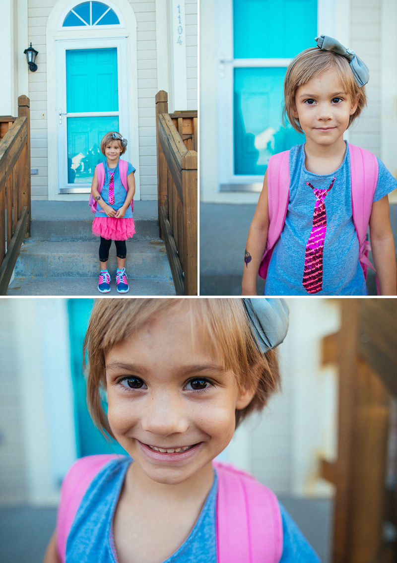 Girl on her first day of kindergarten.