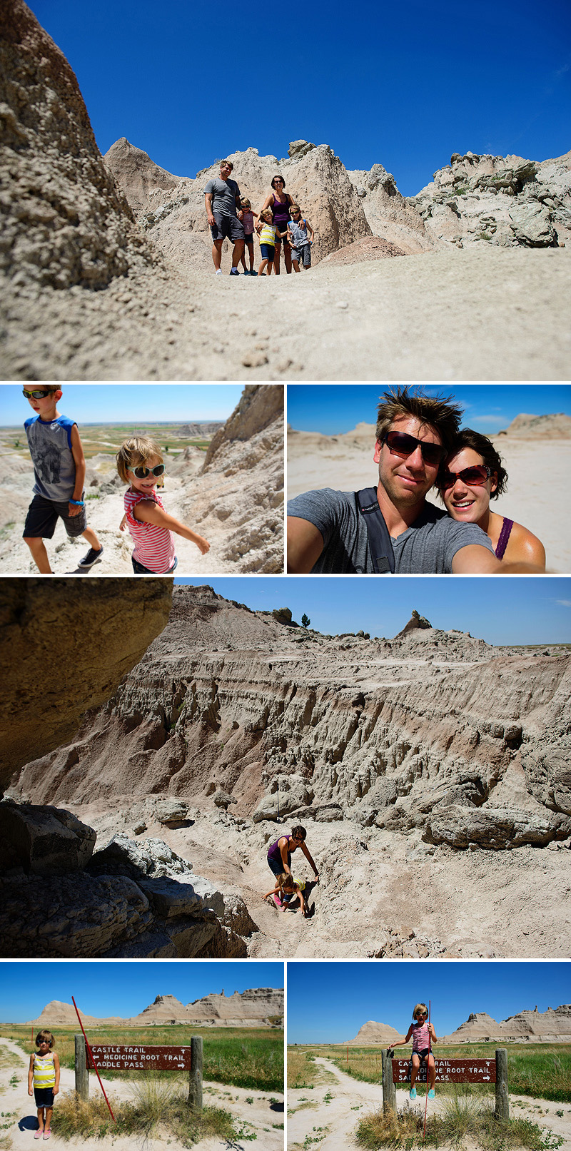 kids hiking in the badlands
