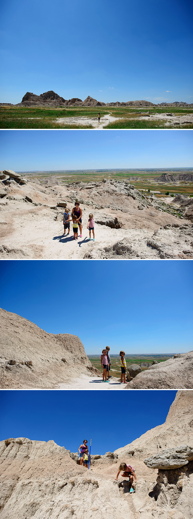 kids climbing on rocks in the badlands