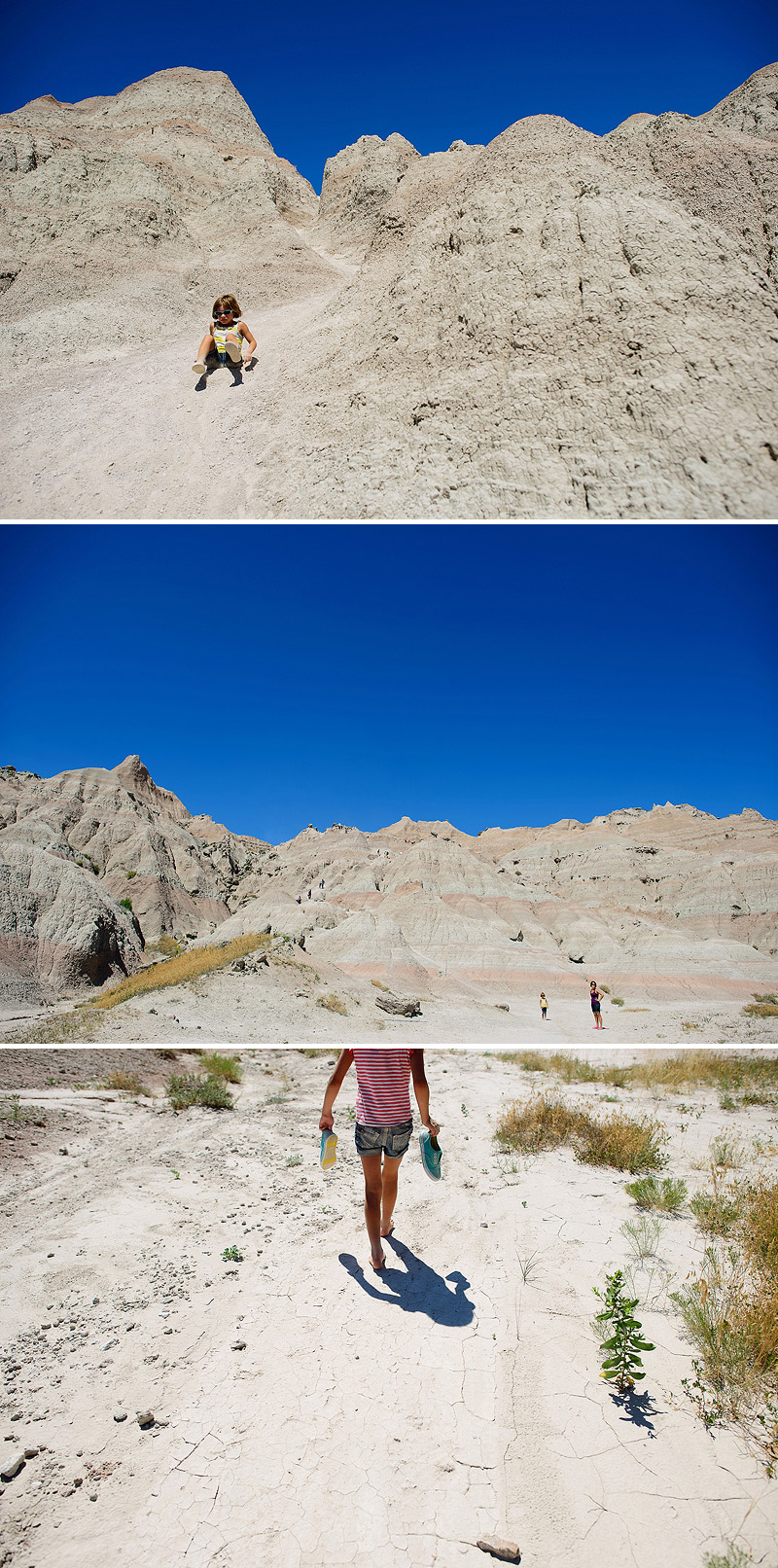 kids hiking in hot weather in the badlands