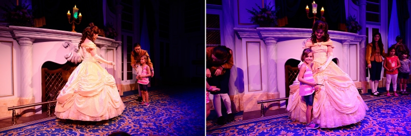 little princess with Belle at Enchated Tales with BelleDisney World Belle 2014
