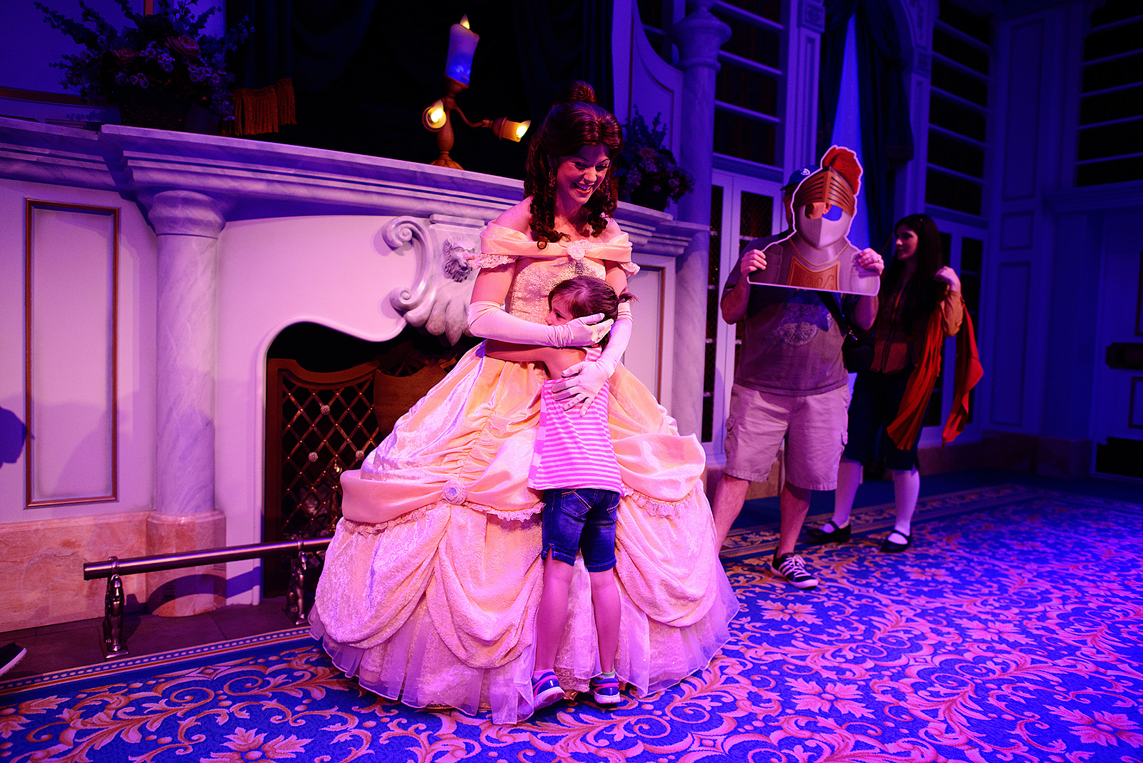 little girl meeting her favorite princess Belle at Magic Kingdom