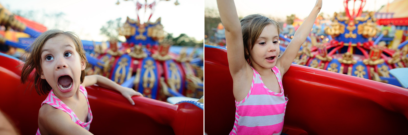 little girl having so much fun on the dumbo ride at disney world