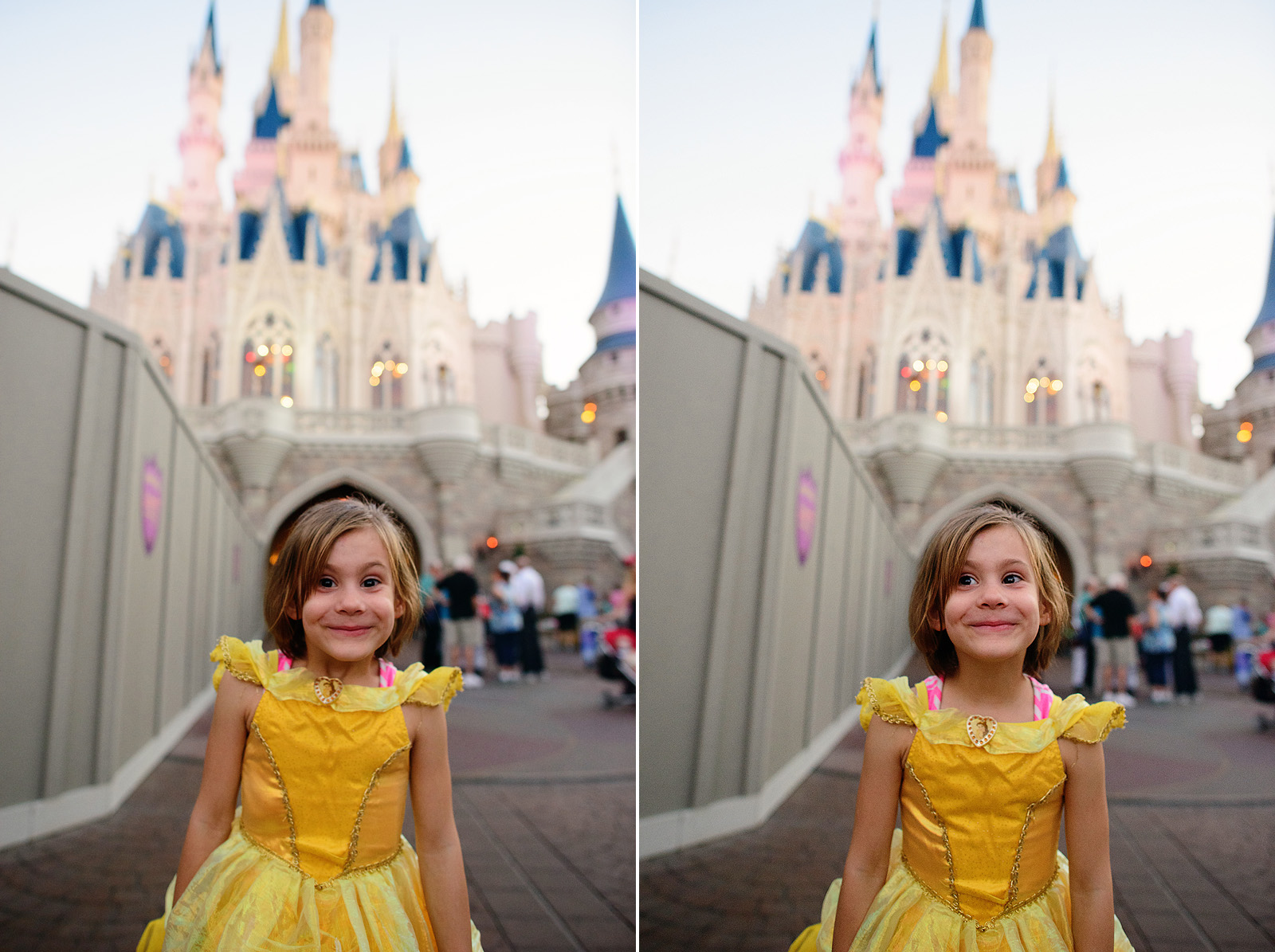 the most excited little princess in front of Cinderella's castle at magic kingdom
