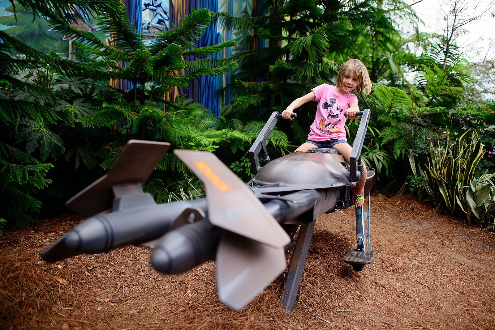 girl on a star wars ship at hollywood studios