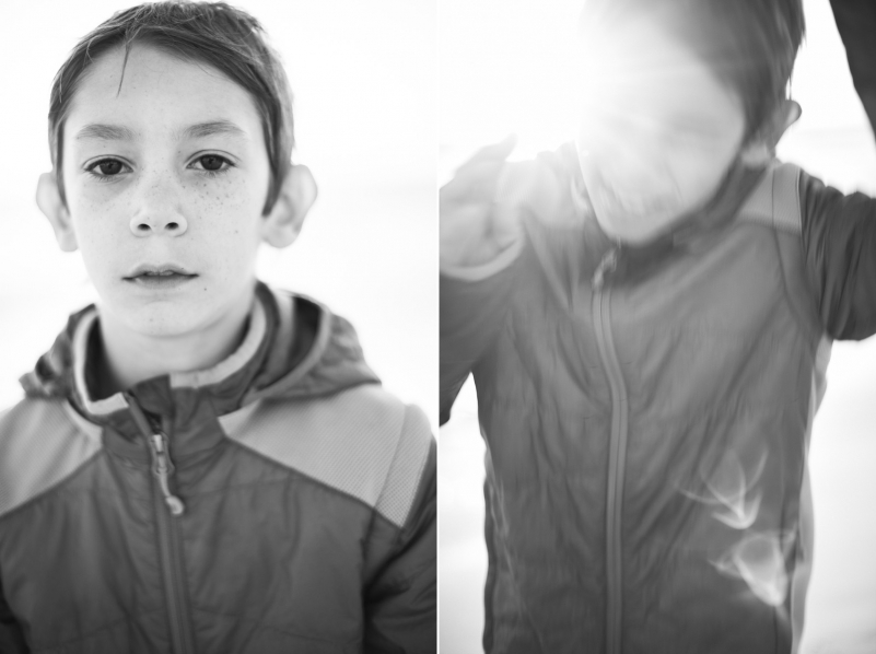 Black and white portrait of a 9 year old boy.