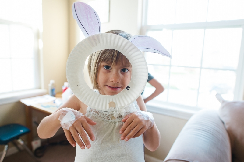 girl with homemade easter bunny outfit.