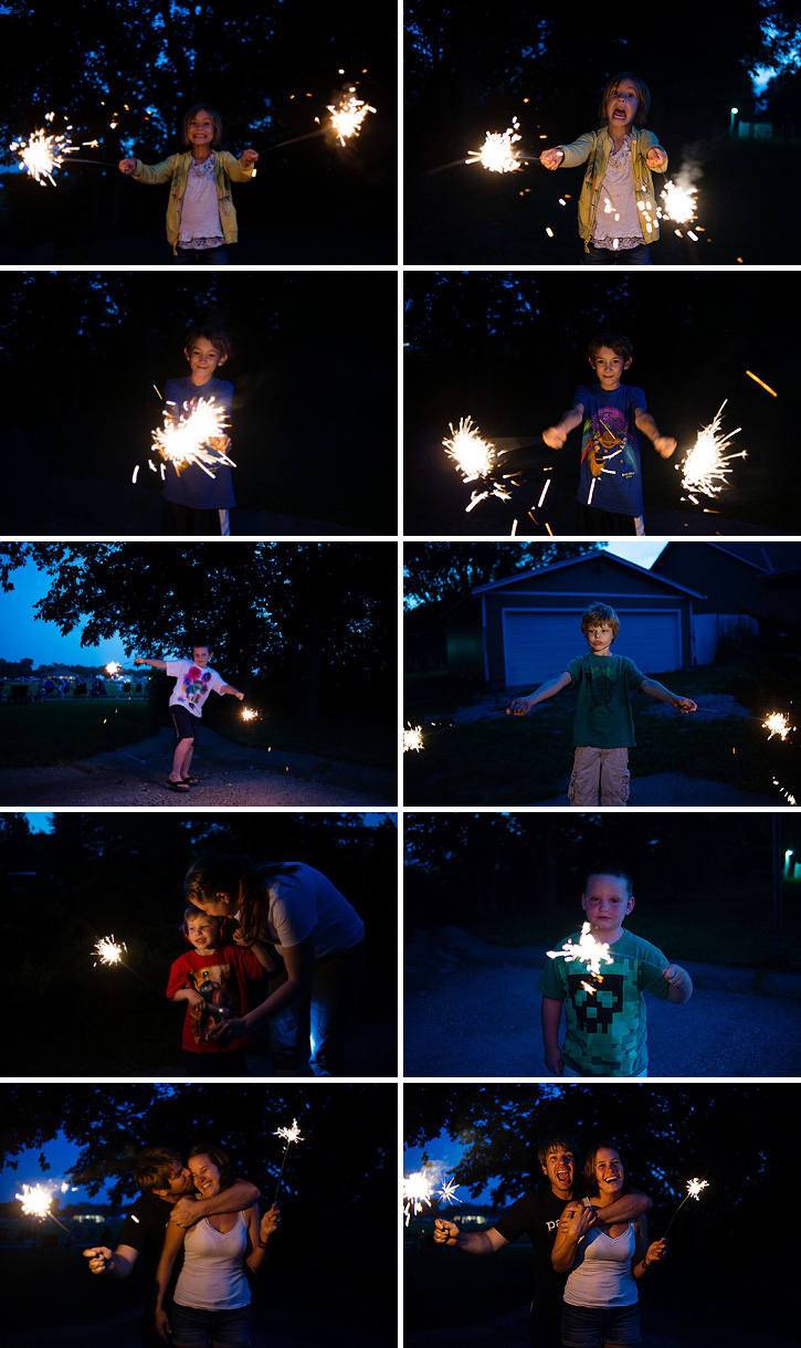 kids playing with sparklers on fourth of july