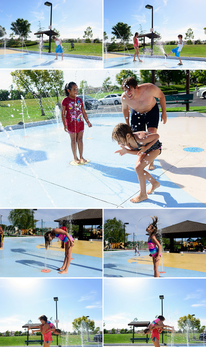 family fun on vacation at the splash park