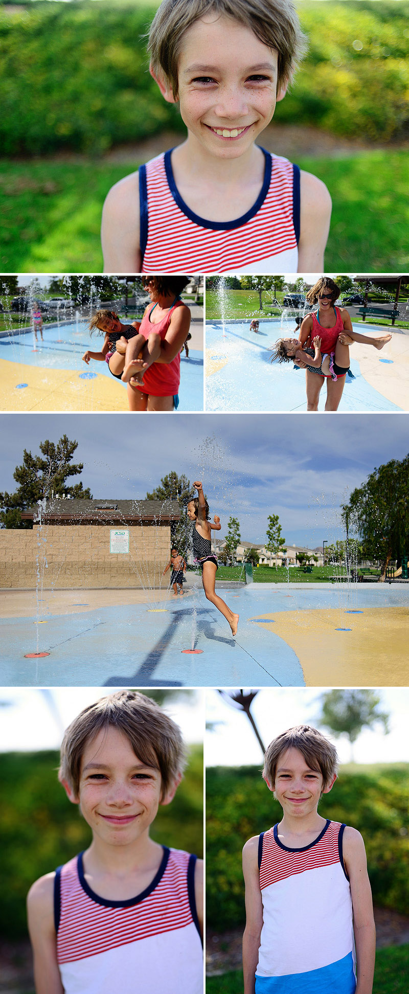 kids playing at the splash park in corona